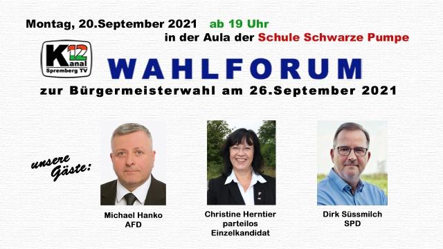 Wahlforum zur Bürgermeisterwahl 2021 in Spremberg