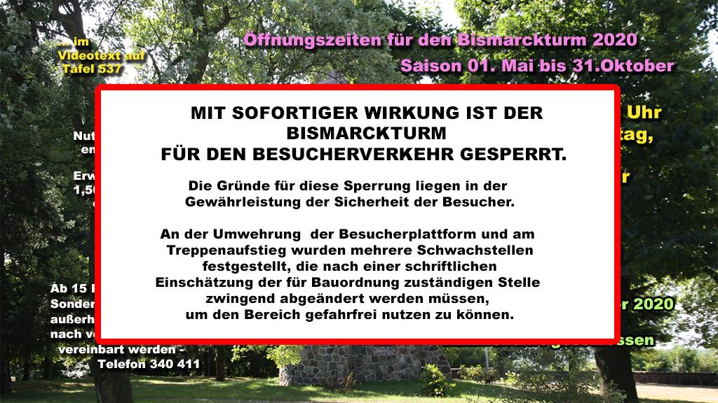 Bismarckturm 2020 zu