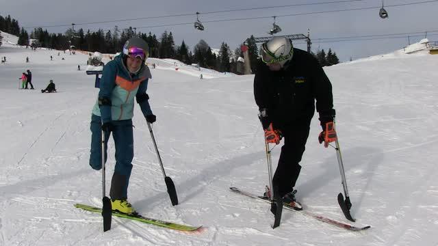 Skitouren auf einem Bein