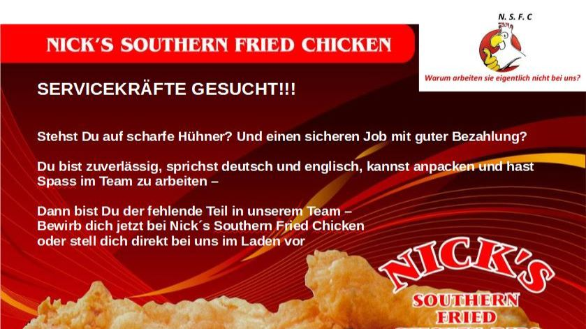 Nick's Southern Fried Chicken & Ribs sucht Servicekräfte-Image
