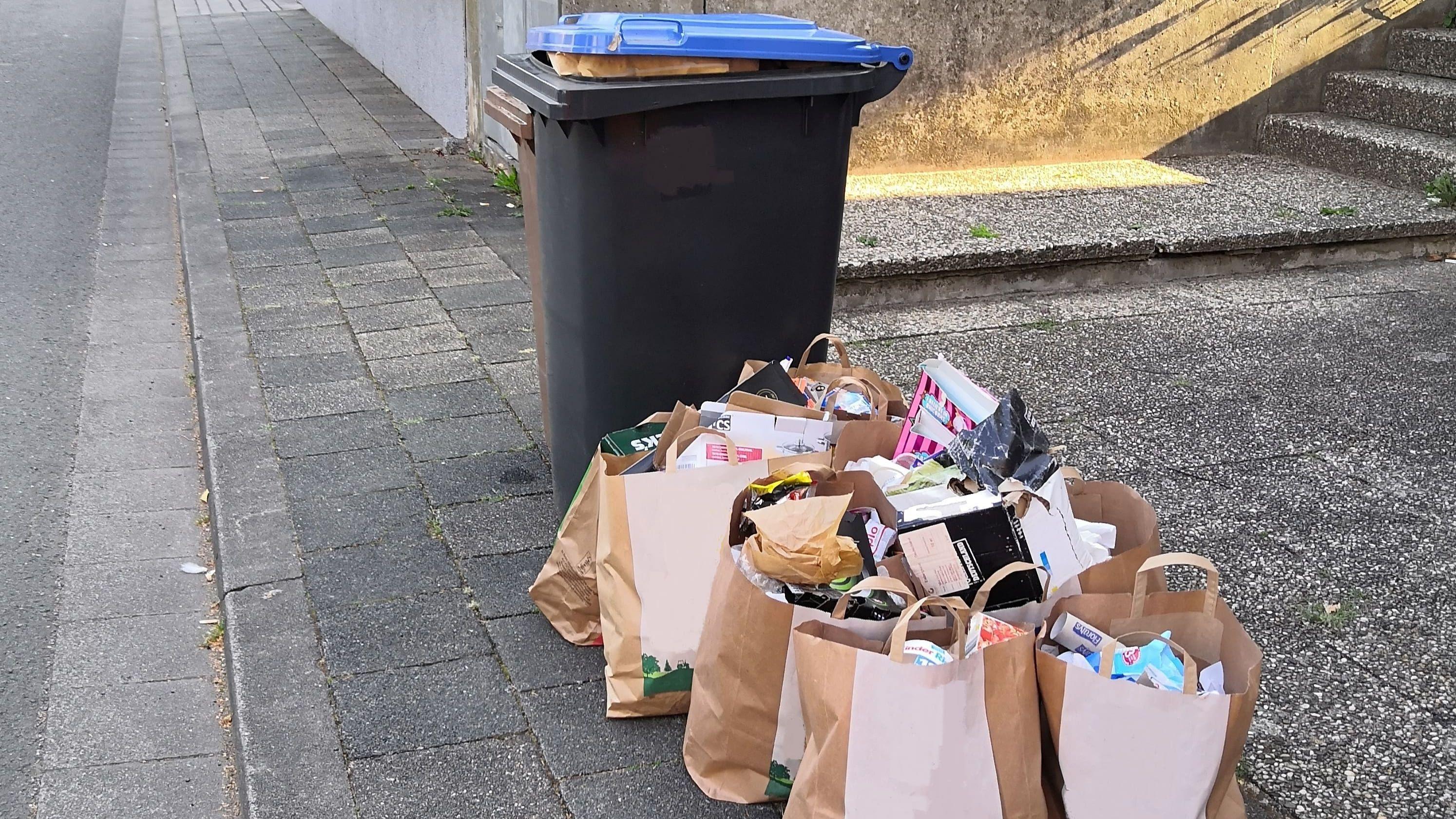 Stadtbildpflege weist auf übervolle Müllbehälter hin-Image