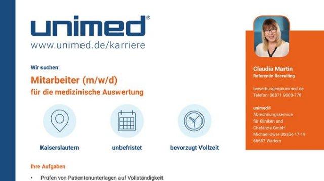 Unimed sucht Mitarbeiter(m/w/d) für die medizinische Auswertung-Image